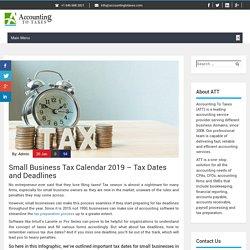 Small Business Tax Calendar 2019 - Tax Dates and Deadlines