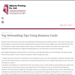 Check out how Business Cards in Calgary are used as a Networking tool
