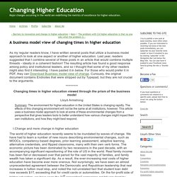 A business model view of changing times in higher education