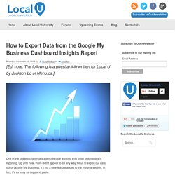 How to Export Data from the Google My Business Dashboard Insights Report