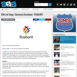 Offre de Stage : Business Developer - FOSBURIT
