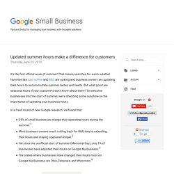 Google Small Business: Updated summer hours make a difference for customers
