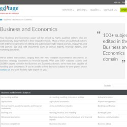 Business and Economics Editing, Business Economics Editors