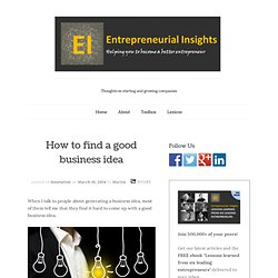 How to find a good business idea. Learn the most effective methods.