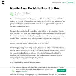 How Business Electricity Rates Are Fixed