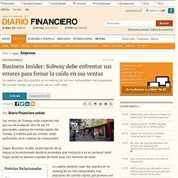 Business Insider: Subway debe enfrentar sus errores para frenar la caída en s...