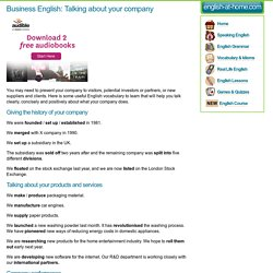 Business English: Talking about your company