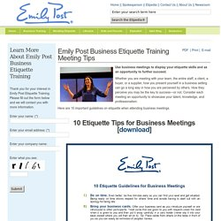 Emily Post Business Etiquette Training Meeting Tips