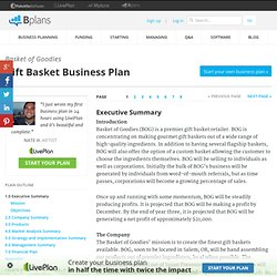 Gift Basket Business Plan Sample