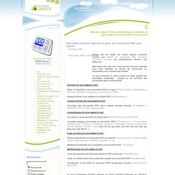 Des outils web pour exploiter et gérer des documents PDF sans logiciel