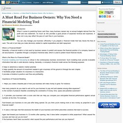 A Must Read For Business Owners: Why You Need a Financial Modeling Tool by Efinancial Modelers