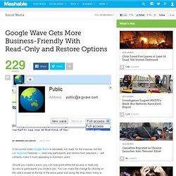 Google Wave Introduces Read-Only Wave Access