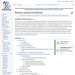 Business Analysis Guidebook