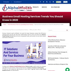 Business Email Hosting Services Trends You Should Know in 2020