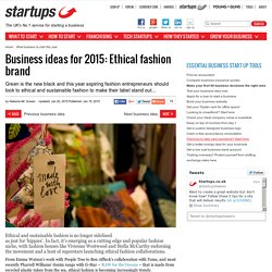 Business ideas for 2015: Ethical fashion brand
