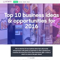 Top 10 business ideas & opportunities for 2016
