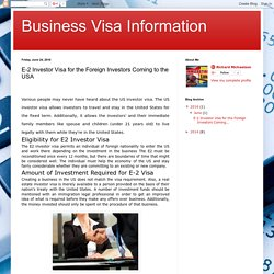 Business Visa Information: E-2 Investor Visa for the Foreign Investors Coming to the USA