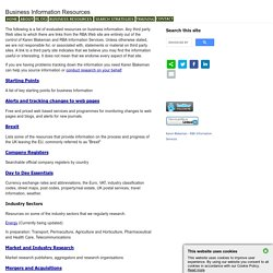 Business Information Sources (Compiled by Karen Blakeman)