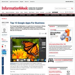 Top 15 Google Apps For Business -- InformationWeek