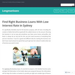 Find Right Business Loans With Low Interest Rate in Sydney – Longmanloans