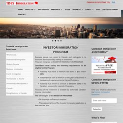 Canada Business Investor Immigration Program - Tims Immigration