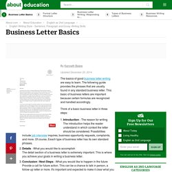 Business Letter Writing Basics