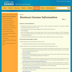 City of Indio : Business License Information