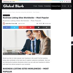 Business Listing Sites Worldwide - Most Popular » Global Blurb