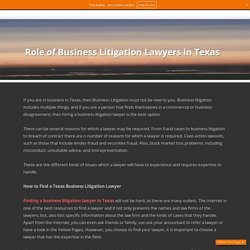 Role of Business Litigation Lawyers in Texas