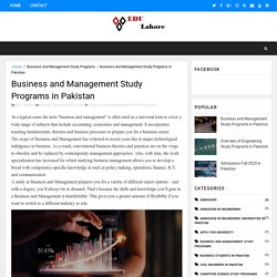 Business and Management Study Programs in Pakistan - The Best Education Programs