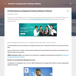 Find the business management training institutes in Chennai