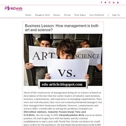 Business Lesson: How management is both art and science? - Pinkdesk.org