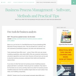 Free tools for business analysts – Business Process Management – Software, Methods and Practical Tips