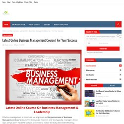 Latest Online Business Management Course