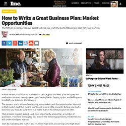 How to Write a Great Business Plan: Market Opportunities