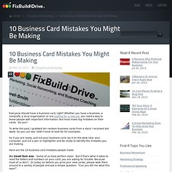 10 Business Card Mistakes You Might Be Making