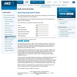 ANZ Small Business - Operating Expenses to Sales