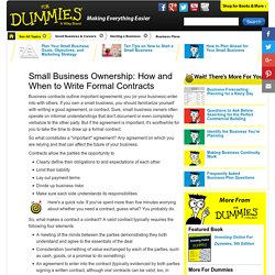 Small Business Ownership: How and When to Write Formal Contracts