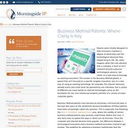 Business Method Patents: Where Clarity Is Key