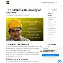 The business philosophy of Marwari - Invincible Lion