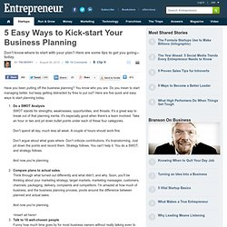5 Easy Ways to Kick-start Your Business Planning - Business Plan Strategy