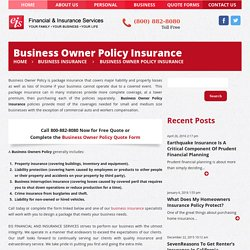 Business Owner Policy Insurance - Call us now for Free Quote