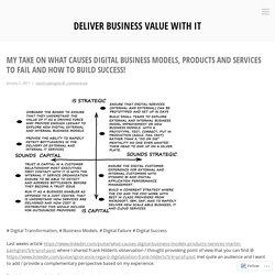 My take on what causes digital business models, products and services to fail and how to build success! – Deliver Business Value with IT