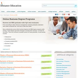 Online Business Degrees and Online MBA Degree Programs
