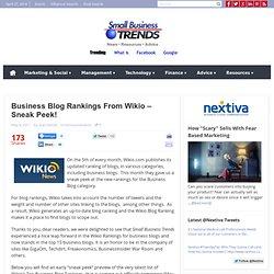Business Blog Rankings From Wikio – Sneak Peek!