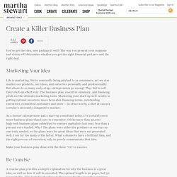 Create a Killer Business Plan - Martha Stewart Community