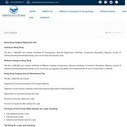 Hong Kong Company Registratin Fee