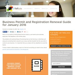 Business Permit and Registration Renewal Guide for January 2016