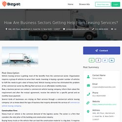 How Are Business Sectors Getting Help from Leasing Services?