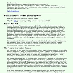 Business Model for the Semantic Web - Design Issues